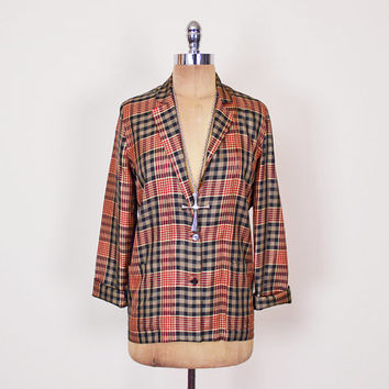 Red Plaid Blazer Jacket Tartan Blazer 100% Silk Blazer Oversize Blazer Boyfriend Blazer 80s Blazer 90s Grunge Preppy Women S Small M Medium