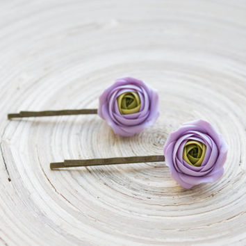 Flowers Hair Pins. Flower bobbypins. Whimsical. Purple, Green. Rustic Wedding. Hair Accessories. 2 pcs