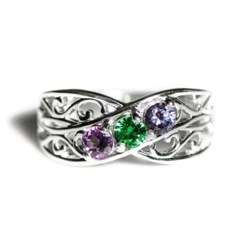 10k White Gold Filigree Lined Family Birthstone Ring with 2 to 5 Stones