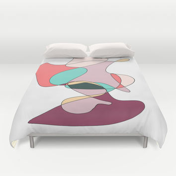Abstract 1 (white) Duvet Cover by DuckyB (Brandi)