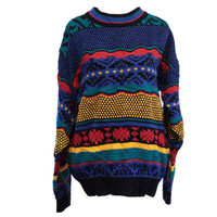 Colorful Vintage Sweater Rainbow 90's Tribal Sweater Size Medium