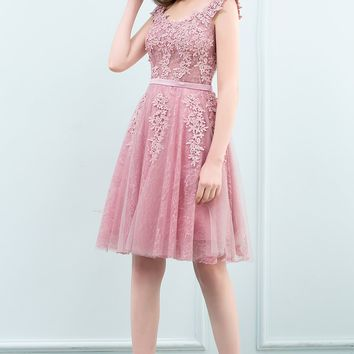 Pink Short Prom Dresses Sexy Pearl Appliques Lace Prom Gown Formal Dress Women Party Dresses