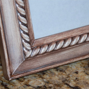 Ornate picture frame: Metallic brown & vintage white 5x7 decorative hand-painted rope photo frame