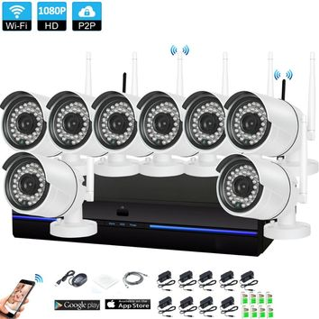 Plug and Play 8CH 1080P HD Wireless NVR Kit P2P 1080P Indoor Outdoor IR Night Vision Security 2.0MP IP Camera WIFI CCTV System