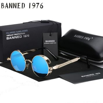 2017 Retro Round Metal Polarized Steampunk Sunglasses