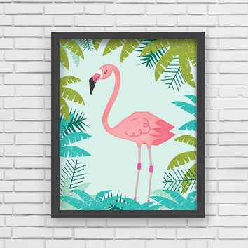 Pink Flamingo Art Print - 11x14
