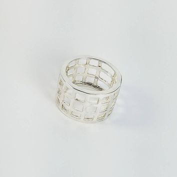 Sterling Openwork Ring - Wide Silver Ring Size 9 - Open Square Ring - Large Sterling Statement Ring