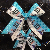 1D One Direction Cheer/Dance Bow Ribbon & Matching Keychain