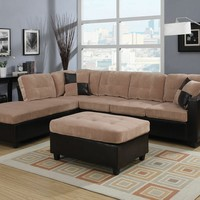 2 pc Milano collection two tone camel champion fabric and dark brown vinyl upholstered reversible chaise sectional sofa set