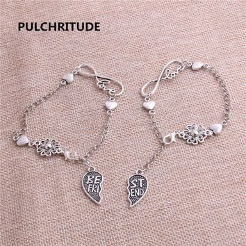PULCHRITUDE 1sets 22cm Alloy Antique Silver Chain Bracelet Best Friend Set Charms Love Set Pendant Heart Charm Fit Women Z0012