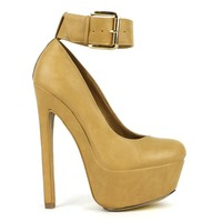 Fahrenheit Fiona-06 High Heel Platform Pump With Ankle-Strap in Tan @ ippolitan.com