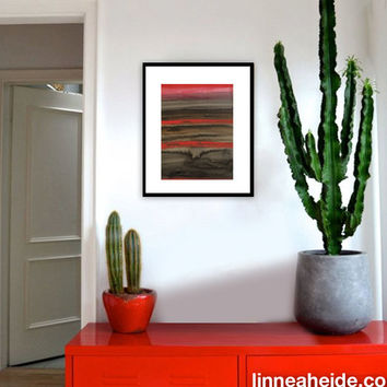 Large Watercolor Painting - original abstract fine art - abstract expressionism - black red grey - ombre stripes - vesuvias