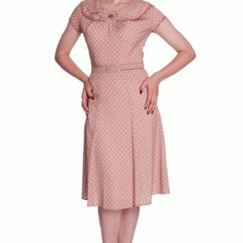 Leave a memorable impression in this Careless Summer Ingrid Dress. This late 40'- early 50's vintage inspired style dress, achieve a whimsical look with this flowy chiffon dress features white polka dot print against latter color background throughout, fal