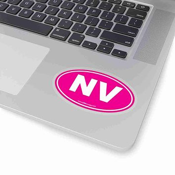 Nevada NV Euro Oval Sticker SOLID PINK