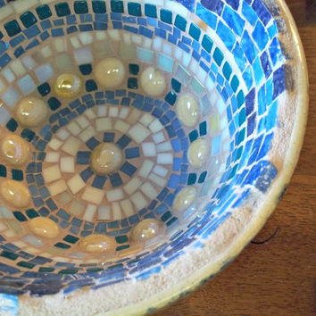 Blue and Light Brown Mosaic Bowl