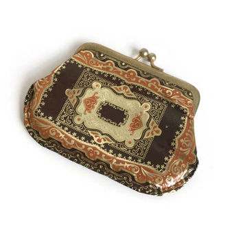 Boho Chic Leather Change Purse, Bohemian Vintage Coin Purse with Kiss Lock, Leather Guild Gold Coin Purse, Florentine Style Coin Purse