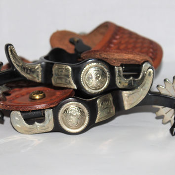 Vintage Pair of Decorative Dress Spurs with Hand Tooled Leather Straps