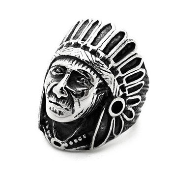 Ethnic Antique Silver Indian Men Rings Jewelry Vintage Alloy Metal Male Ring Accessories Bague Homme Anillos R0189