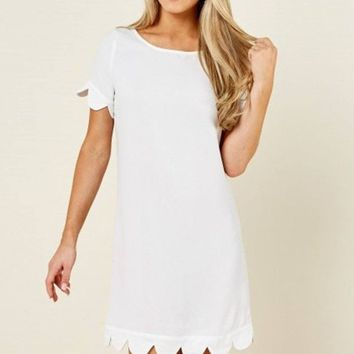 Macy White Scallop Trim Shift Dress