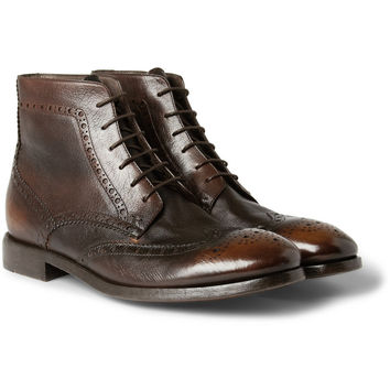 Paul Smith Shoes & Accessories Washed-Leather Brogue Boots | MR PORTER