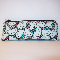 "Hello Kitty Faces in Pastel Cotton Padded Pipe Pouch 7.5"" / Glass Pipe Case / Spoon Cozy / Piece Protector / Pipe Bag / LARGE"