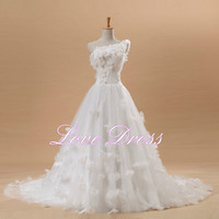 Charming White Strapless Applique Organza Wedding Dress For Bride