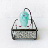 Heart Warrior - The Hii Diie Collection - Glass Jewelry Box with Fluorite Crystal Carved Skull w Ombre Human Hair