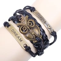 Trendy Owl Dream Winged Love Charm Pendant on Handmade Leather Infinity Bracelet