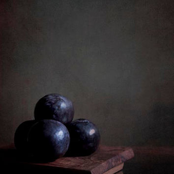 Midnight blue plums photograph- rustic kitchen still life- fall thanksgiving decor- autumn home- brown wood- 5x7