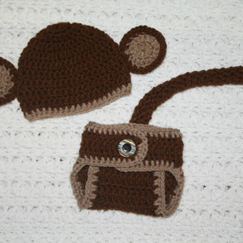 Monkey Baby Diaper Cover and Baby Hat Baby Shower With Ears and Tail