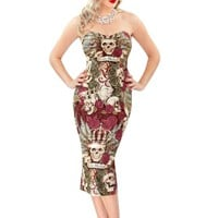 New in! Seize the Night Strapless 50s Skull Pencil Dress - British Retro
