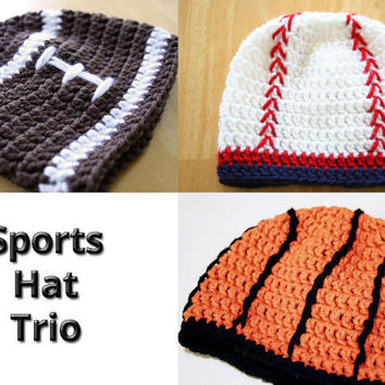 Crochet Sports Hat Set, baseball basketball and football hat trio, Baby Photo Prop