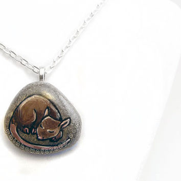 Rat Necklace, Pet Portrait, Brown Rat, Pet Memorial Gift, Pet Loss, In Memory, Hand Painted Rock, Beach Stone, Mouse Painting, Animal Art