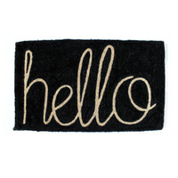 Black Hello Doormat | Hello Polly