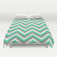 Mint Green, White, and Grey Chevron Duvet Cover by Rebekah Joan