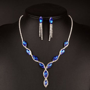 A Suit of  Faux Sapphire Rhinestoned Necklace and Earrings
