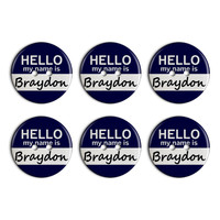 Braydon Hello My Name Is Plastic Resin Button Set of 6