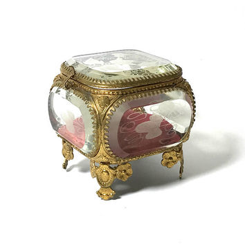 Antique Ormolu Jewelry Casket, French Victorian, Antique Ring Box, Etched Beveled Glass, Gold Gilt, Trinket Box, 1800s, Vanity Box