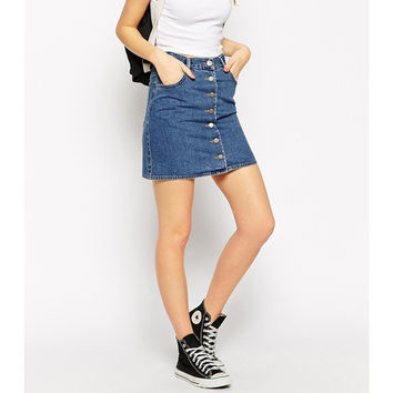 2016 Summer Style New Fashion Short Skirt Women Faldas Midi denim Skirts High Waist Sheds Tutu American Apparel slim