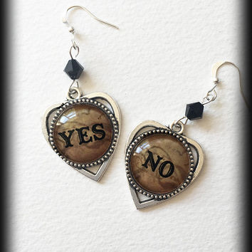 Ouija Board Earrings, Yes No Planchette, Gothic Wicca, Occult Witch Seance, Gothic Jewelry, Antique Effect, Alternative Jewelry, Handmade