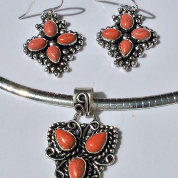 Orange Copper Turquoise Sterling Silver Pendant or earrings