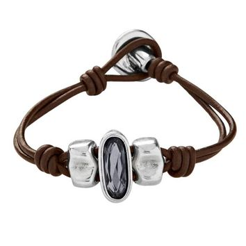 Uno de 50 The Brave Leather and Silver-Plated Bracelet PUL1656GRSMTL0M
