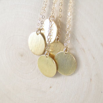 Gold Circle Necklace / Simple Everyday Necklace / Delicate SMALL DISC Necklace / Vermeil - Gold Circle on 14k Gold Fill Chain