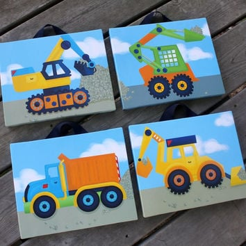 Set of 4 Bright Construction Truck Boys Bedroom Stretched Canvases Kids Playroom Baby Nursery CANVAS Bedroom Wall Art 4CS006