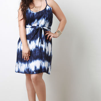 Plus Size Casual Tie Dye Sleeveless Shift Dress