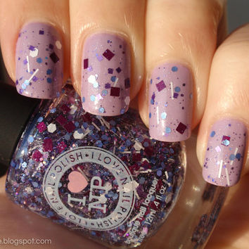 Purple Stuff  Wine Purple Periwinkle White Glitter Nail by ILoveNP