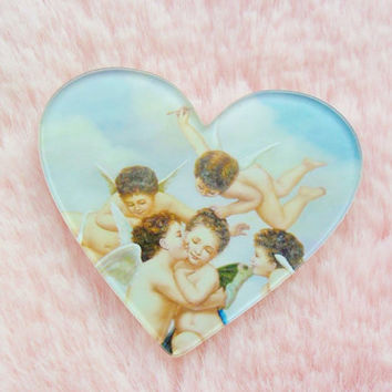 Cute Cherub Cupid Valentines Classic Art Classical Rennaissance Painting Love Heart Pin Badge Brooch