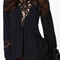 ROMWE Asymmetric Cut-out Lace Embroidered Black Blouse