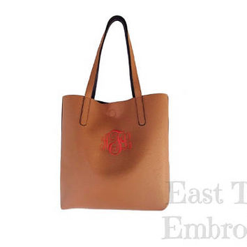 Monogram Leather Tote - Faux Leather Tote with Monogram - Personalized Gifts for Her - Monogram Gifts