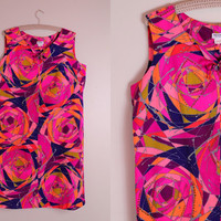 Vintage 60s - Neon Pink Purple Psychedelic Op Art Rose Floral Hawaiian Sleeveless Short Shift Dress - Plus Size 20 2X